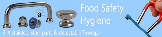 3-A quality stainless steel parts and detectable ty-wraps